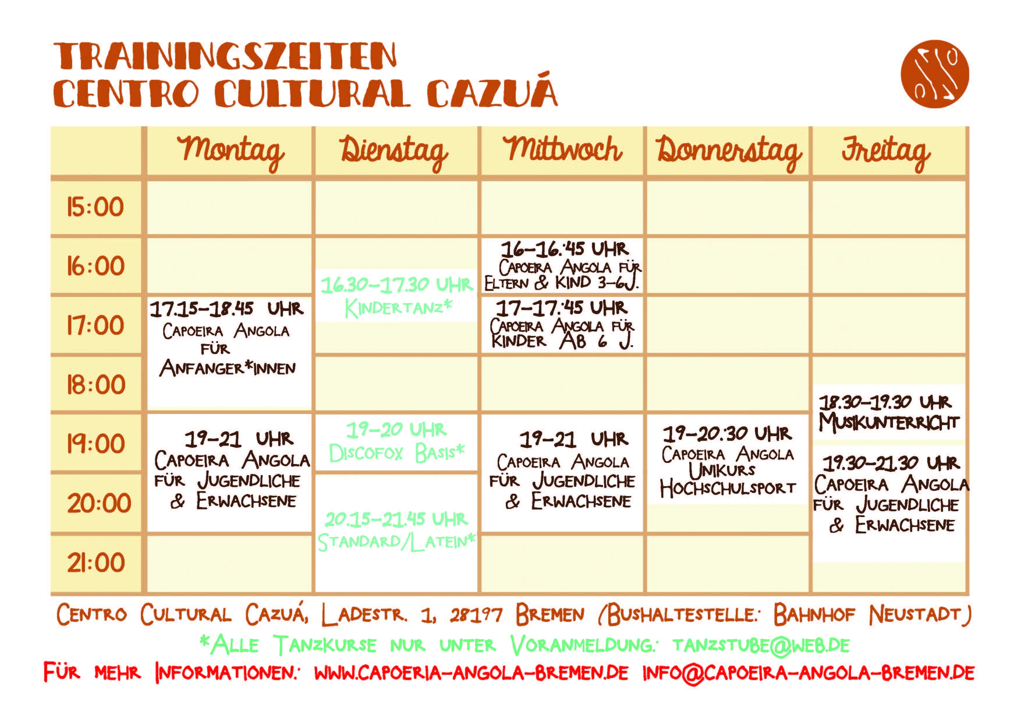 Trainingszeitenplan 092019